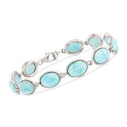 """Larimar Link Bracelet in Sterling Silver. 8"""", , default"""