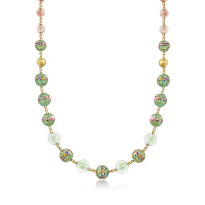 Italian Floral Murano Glass Bead Necklace with 18kt Gold Over Sterling, , default