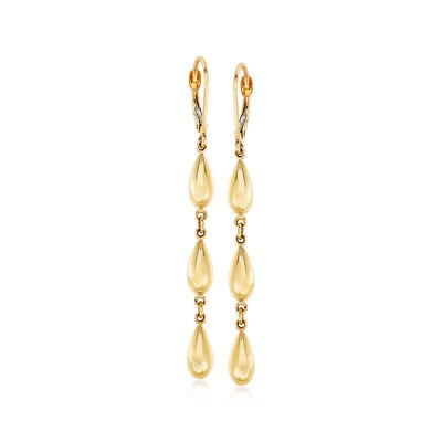 14kt Yellow Gold Multi-Bead Drop Earrings