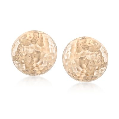 14kt Yellow Gold Hammered Half Dome Clip-On Earrings, , default