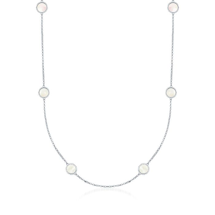 "Mother-Of-Pearl and .90 ct. t.w. CZ Station Necklace in Sterling Silver. 31.5"", , default"