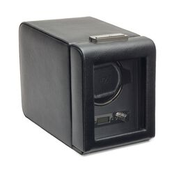 """Viceroy"" Black Faux Leather Single Watch Winder With Cover by Wolf Designs, , default"