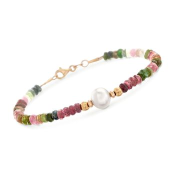 """30.00 ct. t.w. Multicolored Tourmaline Bead Bracelet With 8.5-9mm Cultured Pearl in 14kt Yellow Gold. 7.5"""", , default"""
