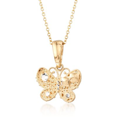 14kt Yellow Gold Multi-Finish Butterfly Pendant Necklace, , default