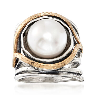 288491c79 11.5-12mm Cultured Pearl Openwork Ring in Sterling Silver and 14kt Yellow  Gold, ,