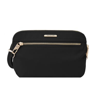 "Travelon ""Anti-Theft Tailored"" Onyx-Black Nylon Twill Crossbody Clutch"