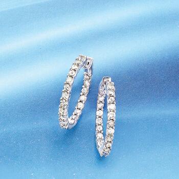 """2.00 ct. t.w. Diamond Inside-Outside Hoop Earrings in Sterling Silver. 7/8"""""""