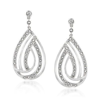 .25 ct. t.w. Diamond Open-Space Teardrop Earrings in Sterling Silver