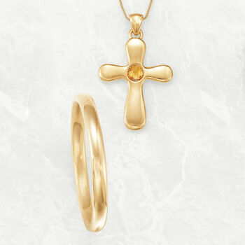 Italian Andiamo 14kt Yellow Gold Cross Pendant with 1.00 Carat Citrine