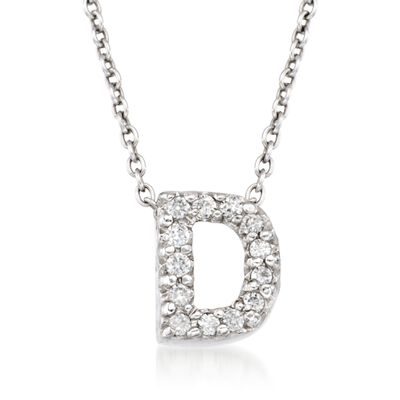 "Roberto Coin ""Love Letter"" Diamond Accent Initial ""D"" Necklace in 18kt White Gold, , default"