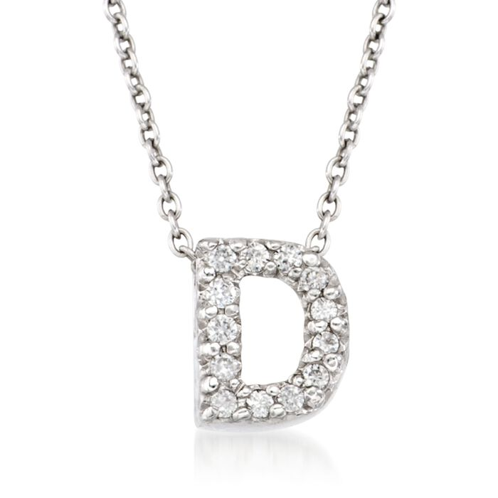 "Roberto Coin ""Love Letter"" Diamond Accent Initial ""D"" Necklace in 18kt White Gold. 16"", , default"