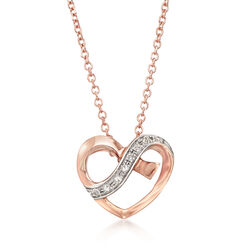 14kt Rose Gold Heart Open-Space Pendant Necklace With Diamond Accents, , default