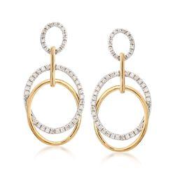 .58 ct. t.w. Diamond Doorknocker Earrings in 14kt Two-Tone Gold, , default