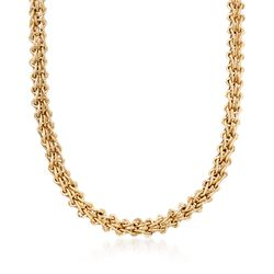 14kt Yellow Gold Woven Link Necklace, , default