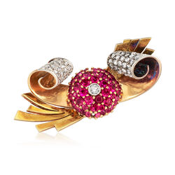 C. 1950 Vintage 3.00 ct. t.w. Synthetic Ruby and 1.50 ct. t.w. Diamond Scroll Pin in 18kt Gold, , default