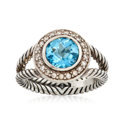 C. 1990 Vintage David Yurman 2.05 Carat Blue Topaz and .25 ct. t.w. Diamond Ring in Sterling Silver, , default