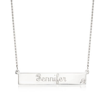 Sterling Silver Name Bar Necklace with CZ Accent, , default