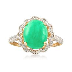 Cabochon Green Jade and Diamond-Accented Scalloped Ring in 14kt Yellow Gold, , default