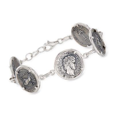 Italian Sterling Silver Coin-Link Bracelet, , default