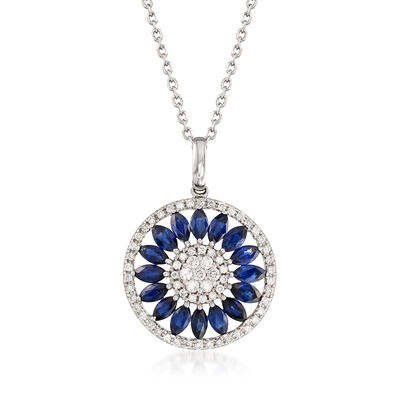 1.80 ct. t.w. Sapphire and .38 ct. t.w. Diamond Circle Pendant Necklace in 14kt White Gold, , default
