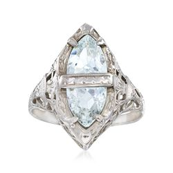 C. 1950 Vintage 1.25 ct. t.w. Aquamarine Filigree Navette Ring in 14kt White Gold. Size 6, , default