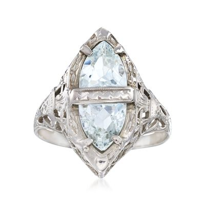 C. 1950 Vintage 1.25 ct. t.w. Aquamarine Filigree Navette Ring in 14kt White Gold, , default
