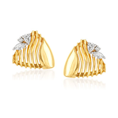 Simon G. .57 ct. t.w. Diamond Beehive Earrings in 18kt Yellow Gold
