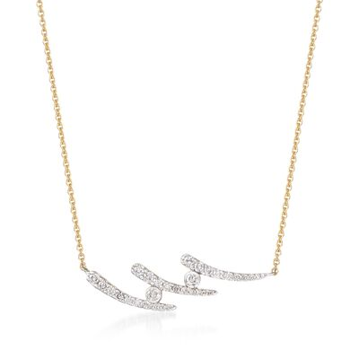 .37 ct. t.w. Diamond Curves Necklace in 14kt Yellow Gold, , default