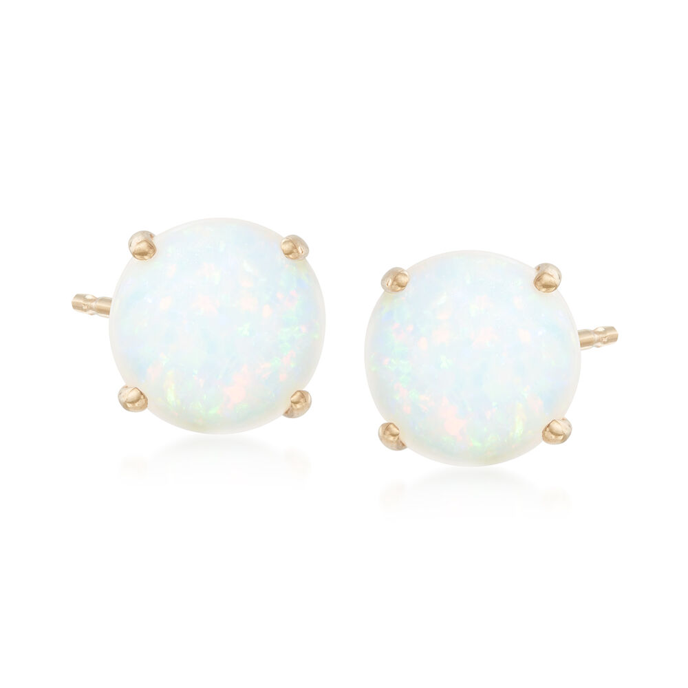 5mm Round Opal Stud Earrings In 14kt Yellow Gold Default