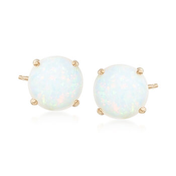 5mm Round Opal Stud Earrings in 14kt Yellow Gold, , default