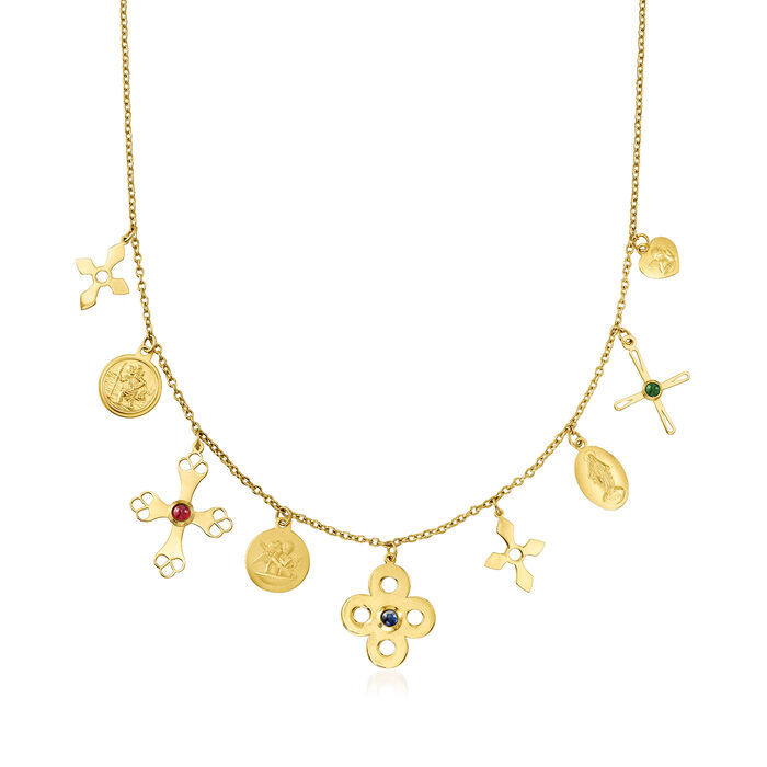 Italian .30 ct. t.w. Multi-Gemstone Religious Charm Necklace in 14kt Yellow Gold