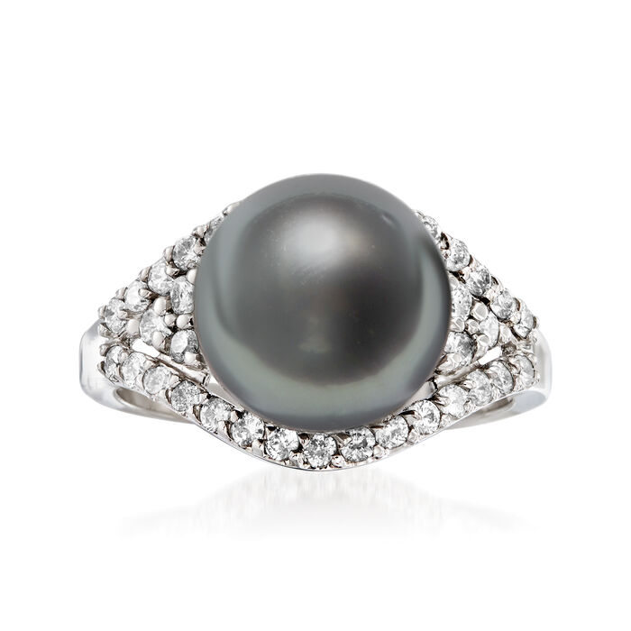 11mm Black Cultured Tahitian Pearl and .59 ct. t.w. Diamond Ring in 14kt White Gold, , default
