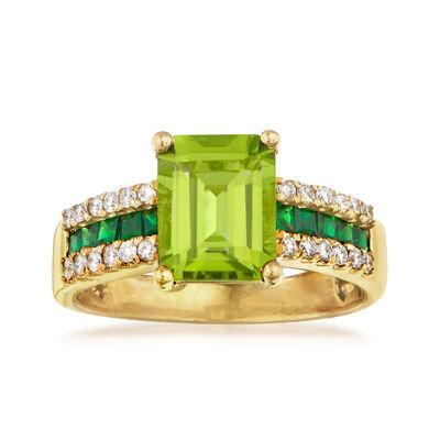 2.40 Carat Peridot, .30 ct. t.w. Tsavorite and .24 ct. t.w. Diamond Ring in 14kt Yellow Gold