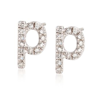 05b30f59d ... default Diamond Accent Lowercase Block Initial Stud Earrings in Sterling  Silver, ...