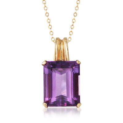 C. 1960 Vintage 14.00 Carat Amethyst Pendant Necklace in 18kt Yellow Gold, , default