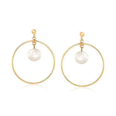 Italian 8-8.5mm Cultured Pearl Drop and Hoop Earrings in 14kt Yellow Gold, , default