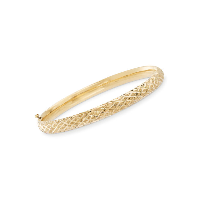 Baby's 14kt Yellow Gold Checkered Bangle Bracelet. 5.5""