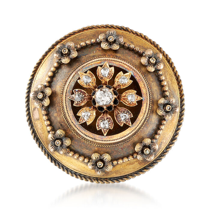 C. 1930 Vintage .75 ct. t.w. Diamond Shield Pin in 14kt Yellow Gold, , default