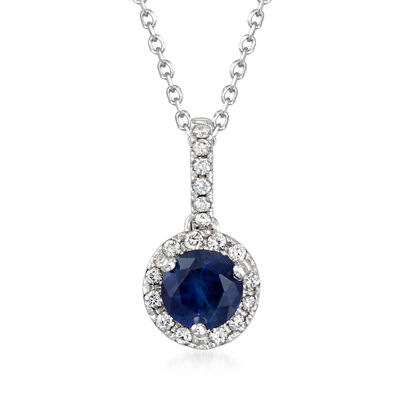 C. 1990 Vintage .50 Carat Sapphire Pendant Necklace with Diamond Accents in 14kt White Gold