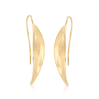 Italian 18kt Yellow Gold Curved Drop Earrings, , default