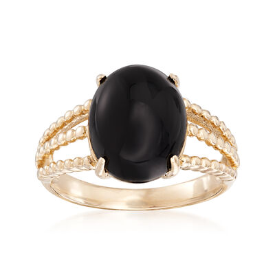 Black Onyx Oval Cabochon Ring in 14kt Yellow Gold, , default