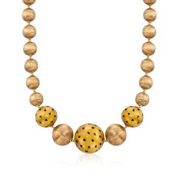 "C. 1970 Vintage 18kt Yellow Gold Bead Necklace. 17.25"", , default"