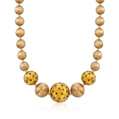 C. 1970 Vintage 18kt Yellow Gold Bead Necklace, , default