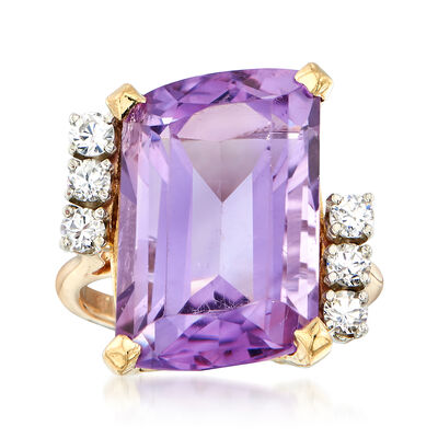 C. 1980 Vintage 10.00 Carat Cushion-Cut Amethyst and .35 ct. t.w. CZ Ring in 18kt Yellow Gold