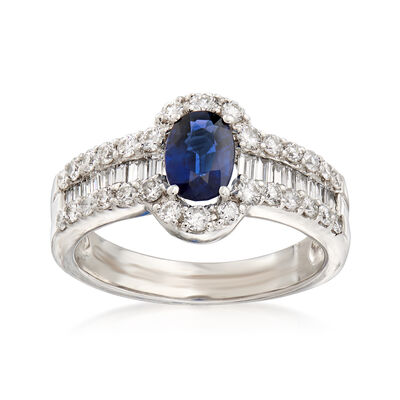 1.00 ct. t.w. Diamond and .80 Carat Sapphire Ring in 18kt White Gold, , default