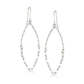 Italian Sterling Silver Open Marquise Drop Earrings, , default