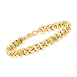 Men's 14kt Yellow Gold Cuban-Link Bracelet, , default