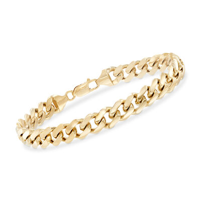 Men's 14kt Yellow Gold Cuban-Link Bracelet, , default