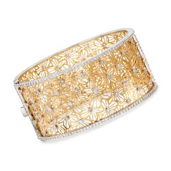 "3.20 ct. t.w. Diamond Floral Filigree Bangle Bracelet in 18kt Two-Tone Gold. 7"", , default"