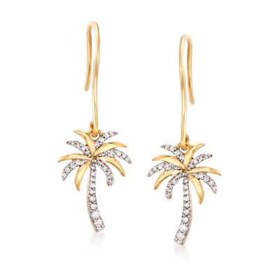 .15 ct. t.w. Diamond Palm Tree Drop Earrings in 14kt Yellow Gold, , default